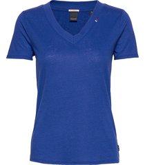 feminine tee with deep v neck in linen mix quality t-shirts & tops short-sleeved blå scotch & soda