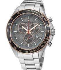 nautica men's analog silver-tone stainless steel bracelet watch 46 mm