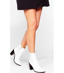 womens west buds faux leather heeled boots - white