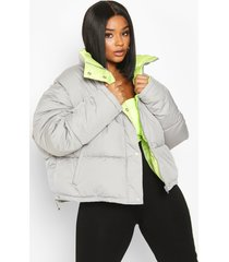 plus neon lined cropped puffer jacket, grey