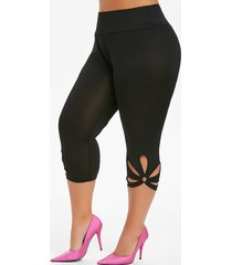 metal ring cut out capri plus size leggings
