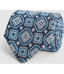 reiss luka - silk medallion tie in steel blue, mens