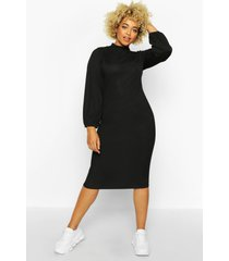 plus rib high neck blouson sleeve midi dress, black