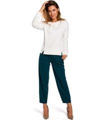 blouse style s180 pullover-trui met split onderaan - ecru