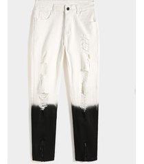 koyye jeans rasgados blancos con bloque de color degradado informal para hombre