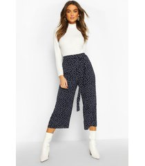 belted woven polka dot culottes, navy
