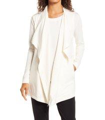 women's anne klein drape front pocket cardigan, size large/x-large - white