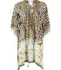 camilla v-neck leopard print silk tunic - neutrals