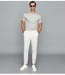 reiss bedford - mercerised cotton crew neck t-shirt in grey melange, mens, size xxl