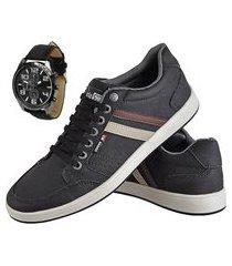 kit sapatênis casual exclusivo cr shoes com relógio preto