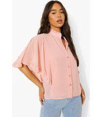geweven blouse met engelenmouwen en ruches, blush