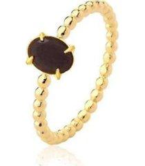 anel solitário oval zircônia negra banhado 18k lys lazuli feminino - feminino