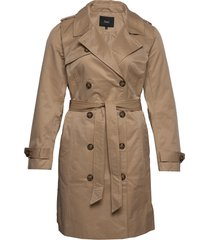mclea, l/s, coat trenchcoat lange jas bruin zizzi