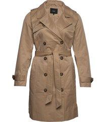 jacket buttons plus collar tie-waist trenchcoat lange jas bruin zizzi
