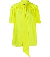 balenciaga pussy-bow short-sleeve blouse - yellow