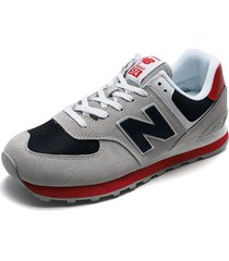 tenis lifestyle gris-azul-rojo-blanco new balance classics traditionnels 574
