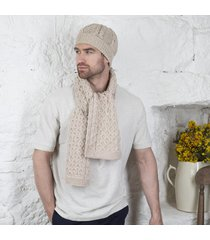 honeycomb aran hat & scarf set beige
