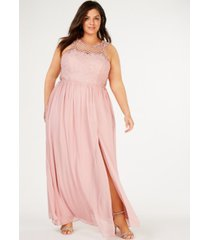 city studios trendy plus size embellished illusion tulip gown