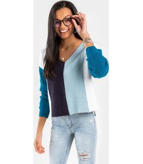 teanne colorblock pullover sweater - blue