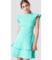 trendyol flounce shoulder mini dress - blue