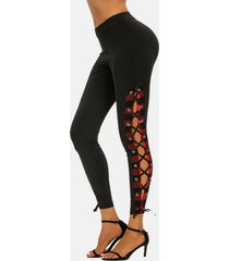 high rise plaid lace up pants