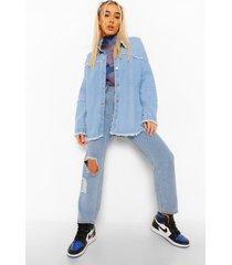oversized blouse met naaddetail en gerafelde zoom, mid blue