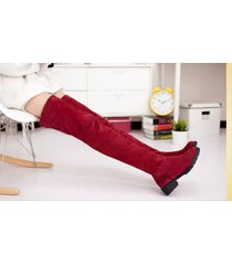 pp196 stylistic over-knee boots w stretch top, zip side us size 4-9, burgundy
