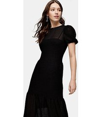black textured lace midi dress - black