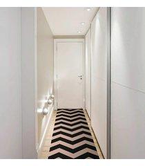 passadeira chevrom preto com bege casa dona antiderrapante 0,66x2,40cm