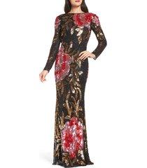 women's mac duggal long sleeve sequin column gown, size 0 - black
