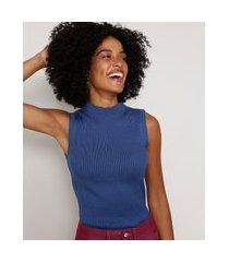 regata de tricô feminina básica canelada gola alta azul