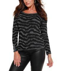 belldini black label metallic puff sleeve pullover sweater