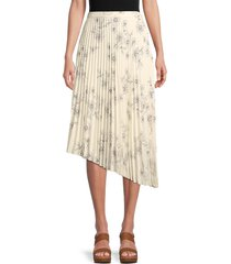 sanctuary women's the summer pleated long skirt - sketched floral - size l