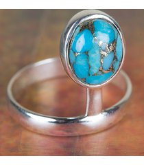 genuie blue copper turquoise gemstone sterling silver ring all size bjr-457-bct