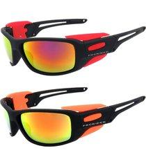 kit 2 óculos de sol prorider esportivo em grilamid® tr-90 preto vermelho / laranjaespelhado