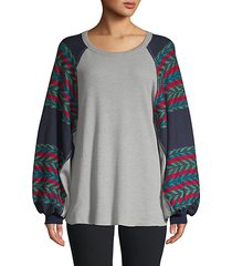 chevron cotton-blend sweater