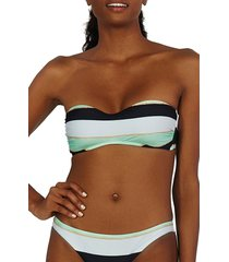 women's vix swimwear malta amy stripe bandeau bikini top, size small - black