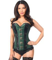 daisy corsets top drawer - faux leather & green brocade steel boned corset