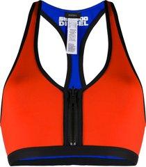 diesel front zip bikini top - orange