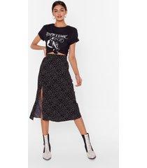 womens black slit ruffle midi skirt with spotty print