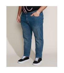 calça jeans masculina plus size slim com bolsos azul médio