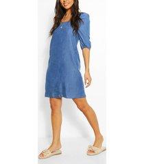 chambray jurk met geplooide rug, middenblauw