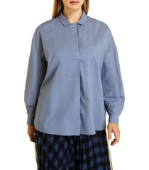 plus size women's marina rinaldi facolta popeline button up shirt