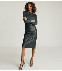 reiss kali - leather pencil skirt in green, womens, size 12
