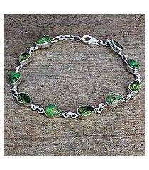 peridot link bracelet, 'sunny drops in green' (india)