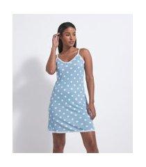 camisola de alcinhas com estampa de bolinhas   lov   azul   p