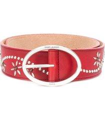 saint laurent studded floral belt - red