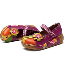 socofy scarpe basse in pelle con stampa floreale
