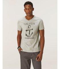 camiseta ncora tradicional meia malha malwee cinza claro - gg