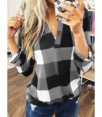 yoins blusa de manga larga con cuello en v a cuadros gris